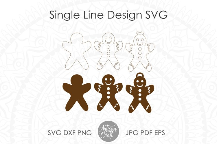 Gingerbread cookies SVG, laser cutting files, ornament example 1