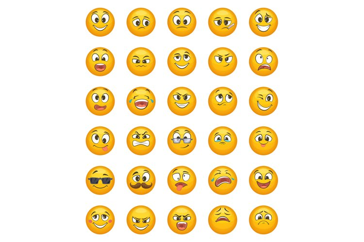 Emoticon set with different funny emotions. Vector character example image 1