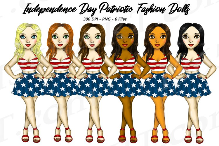 4th of July Fashion Girls Planner Clipart, America USA PNG example image 1