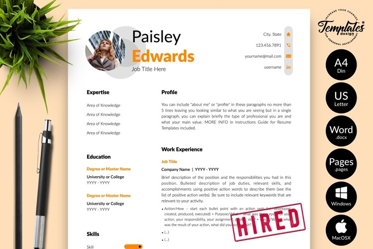 Modern Resume CV Template for Word & Pages Paisley Edwards example image 1