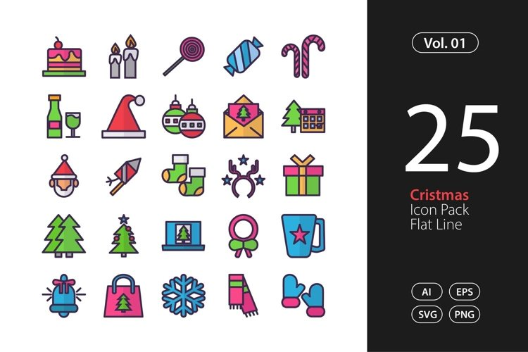 Christmas Icon Flat Line SVG, EPS, PNG example image 1