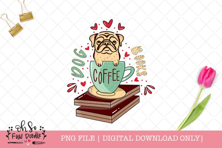Pug sublimation, PNG file, book lover, hand drawn example image 1