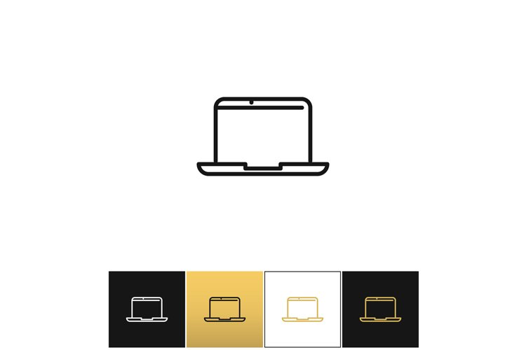 Laptop sign or modern outdoors computer vector icon example image 1