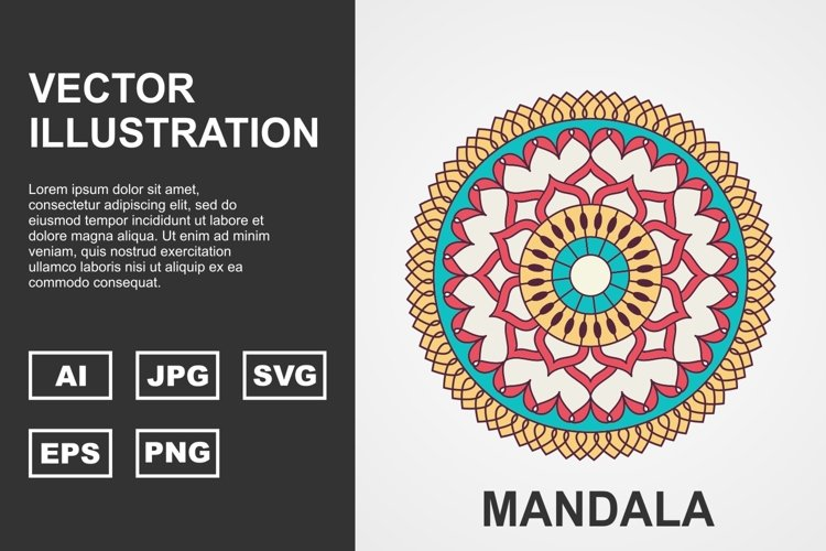 Colorful Vector Mandala Illustration Design example image 1