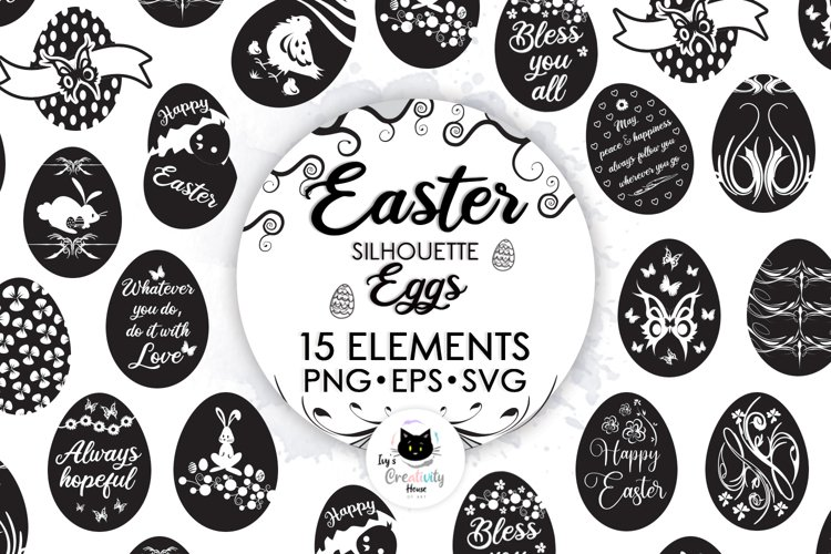 Happy Easter SVG Cut Files | Easter Egg Silhouette Clipart example image 1