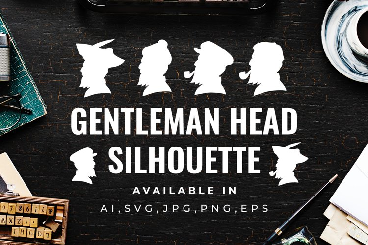 Gentleman Head Silhouette - Clipart, Illustration,Graphic example image 1