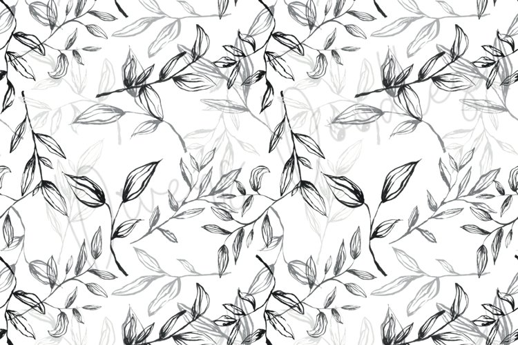 Simple Black and White Leaves Seamless Pattern