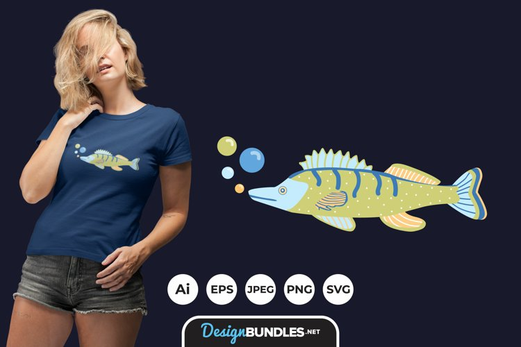 Folk Art Fishes for T-Shirt Design example image 1