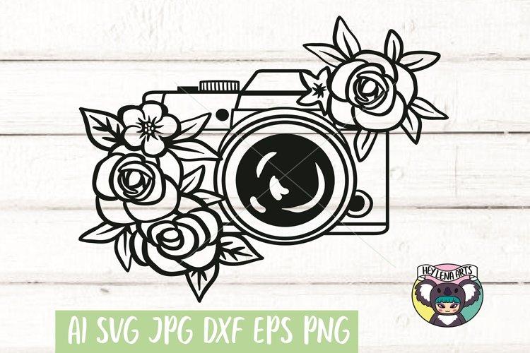 Camera svg, Floral svg, Files for Cricut, Cut File, dxf png