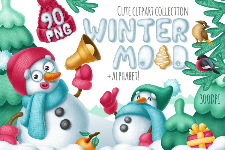 Winter mood clipart and alphabet