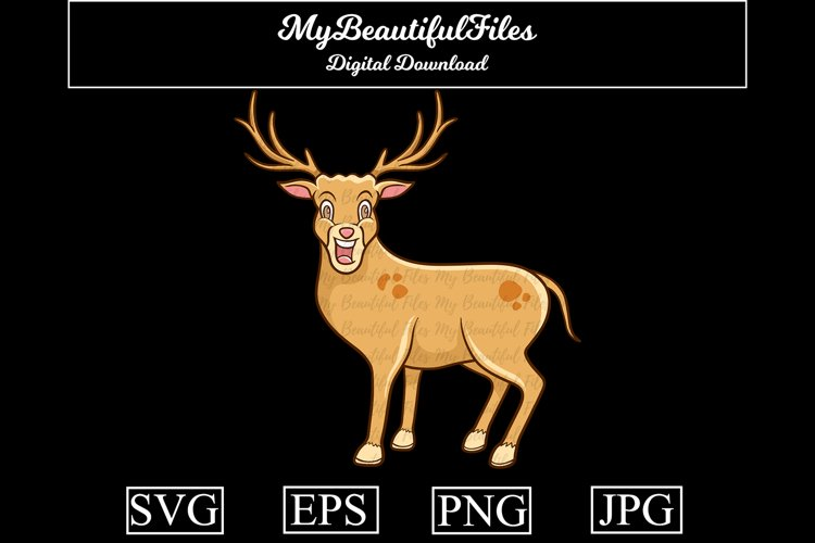 Deer SVG - Cartoon Animal SVG, EPS, PNG and JPG example image 1