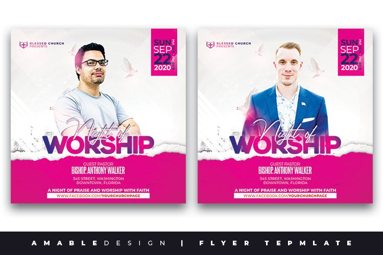 Night of Worship Church Flyer example image 1