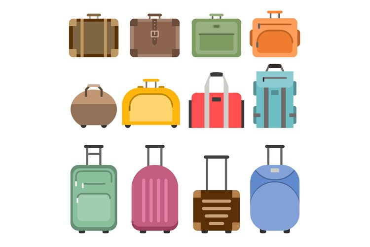 Handbags and suitcases. Vector pictures set isolate on white example image 1