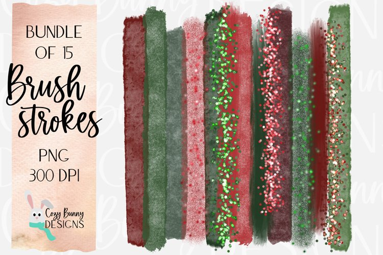 Christmas Brush Strokes - Bundle of 15 PNG example image 1