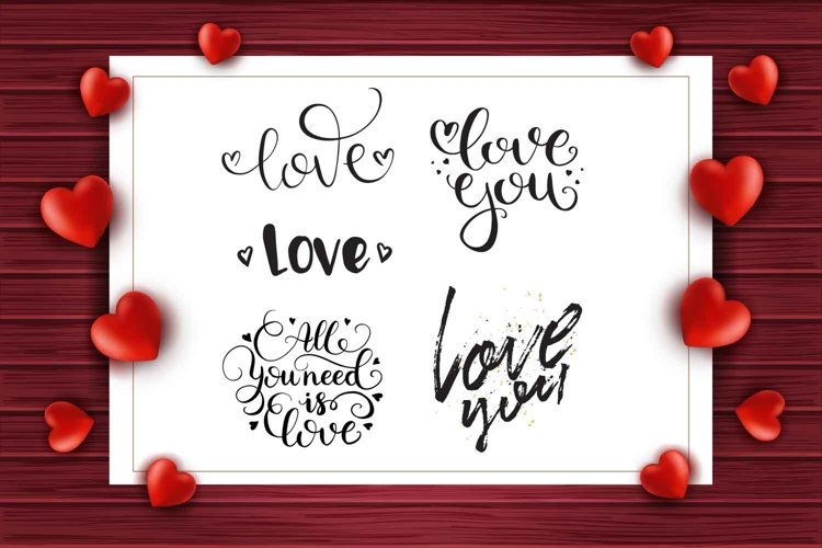 Set of love lettering on red wood background with hearts example image 1