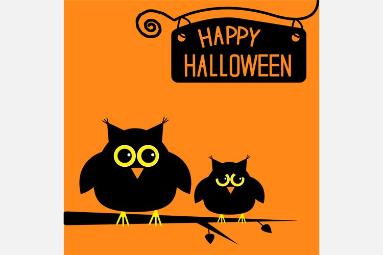 Happy Halloween card with cute owls. example image 1