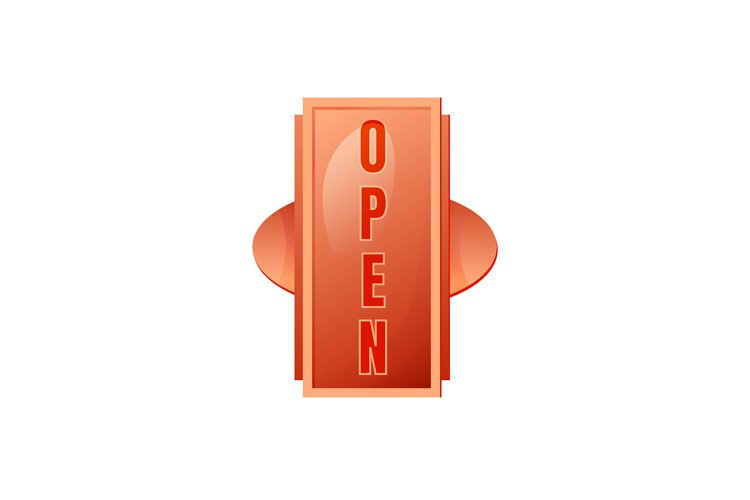 Open red vector board sign illustration example image 1