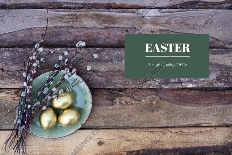 Sustainable Easter card with golden eggs