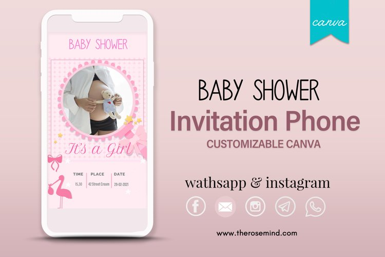 Baby shower invitation, editable Canva example image 1