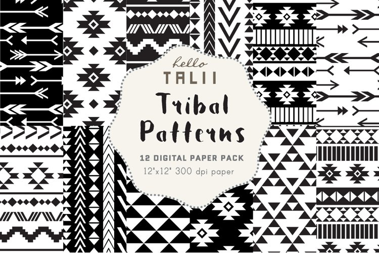 Black and White Tribal Patterns example image 1