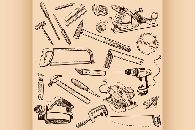 Joinery icons set. Carpenter character at work. example image 1