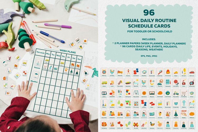 96 visual daily routine schedule cards with charts.Printable