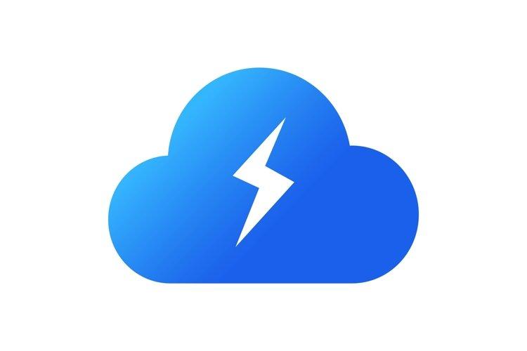 Energy cloud icon. Cloud storage concept. Blue cloud icon example image 1