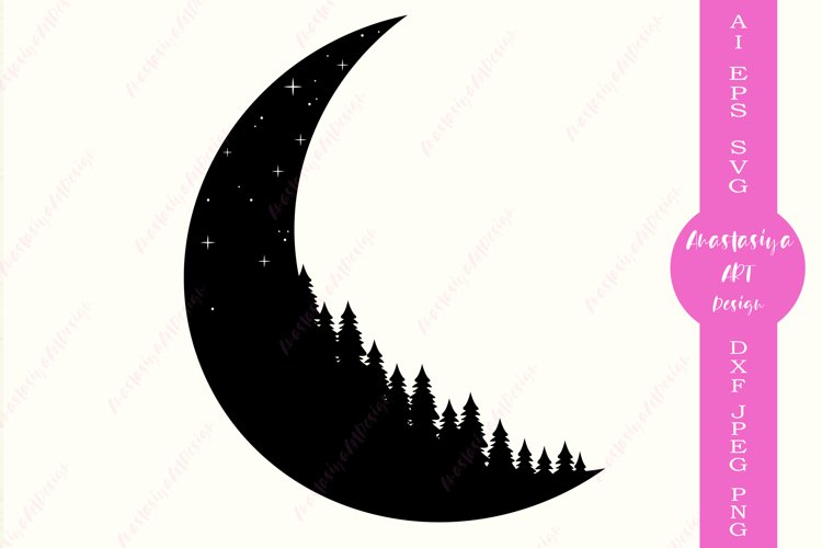 Camping shirt design dxf, Moon silhouette, Adventure logo example image 1