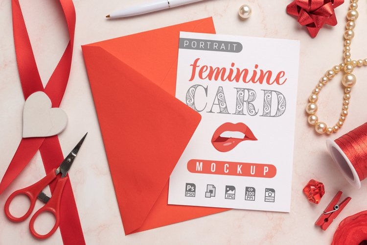 Feminine Card and Envelope Mockup