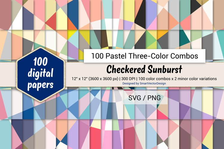 Checkered Sunburst Paper - 100 Pastel Three-Color Combos example image 1