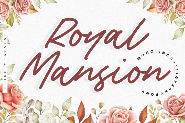 Royal Mansion Monoline Calligraphy Font example image 1