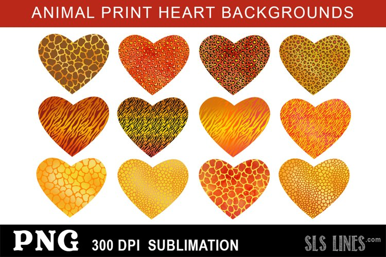 Animal Print Heart Sublimation Backgrounds