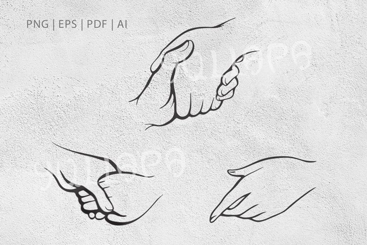 Hands, handshakes vector outlines example image 1