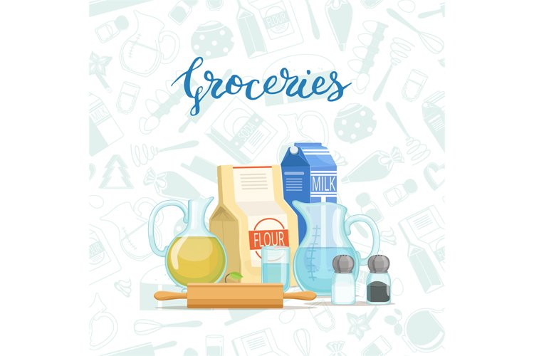 Vector cooking ingridients or groceries pile example image 1