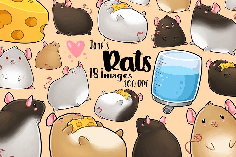 Kawaii Rats Clipart example image 1