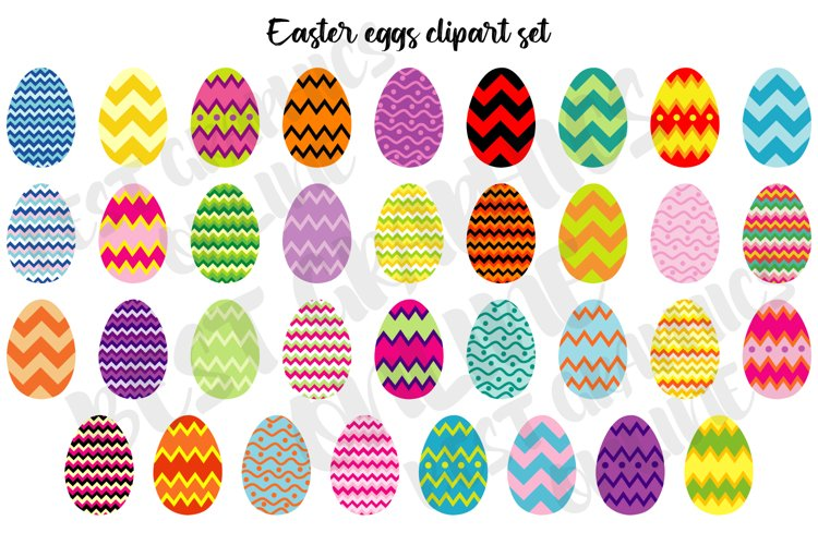 Easter eggs clipart set Easter egg hunt chocolate eggs example image 1