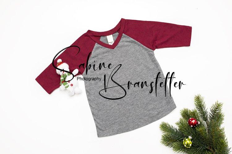 Styled Stock Photo Kids Red Unisex Christmas Shirt Mockup