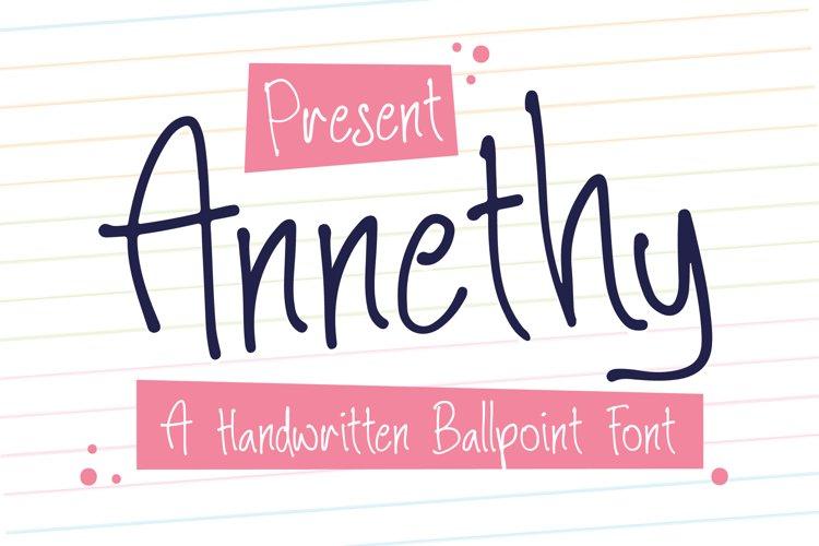 Annethy - A Handwritten Ballpoint Font example image 1