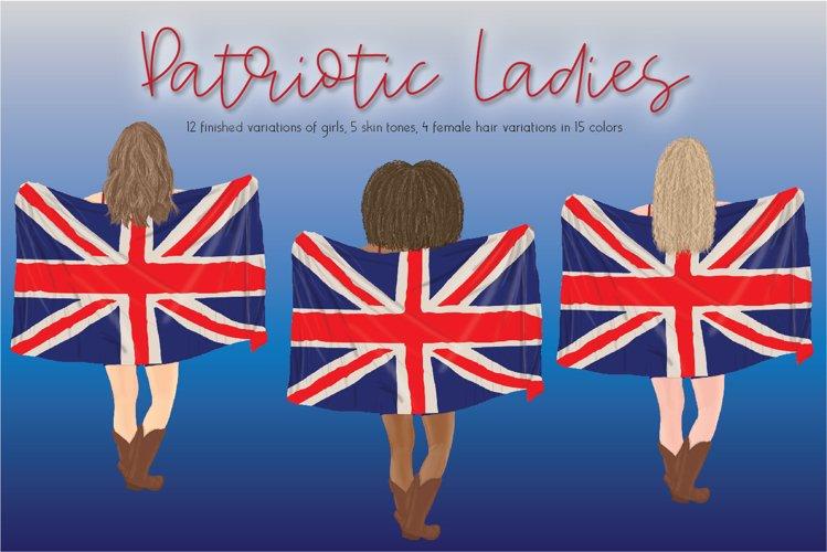 British Patriotic Ladies Clipart Set example image 1
