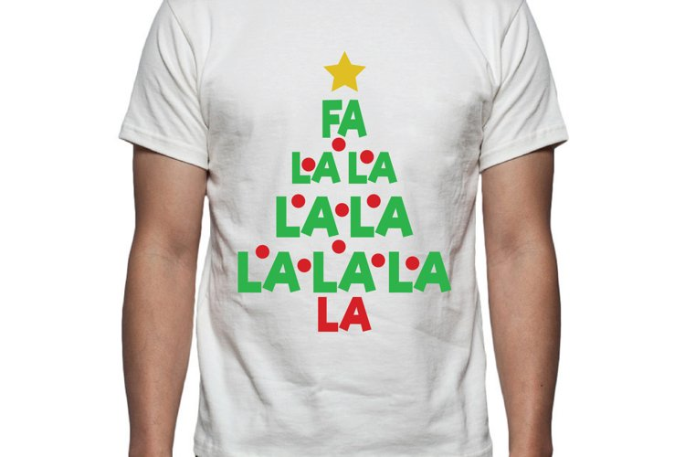Fa La La Christmas Tree Tee Shirt Design example image 1