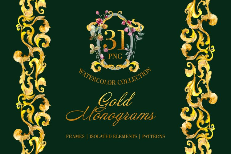 Gold super Monograms Watercolor png example image 1