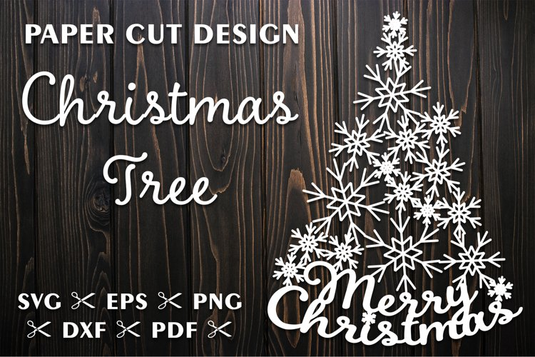 Christmas Tree SVG with Snowflakes for Silhouette and Cricut example image 1