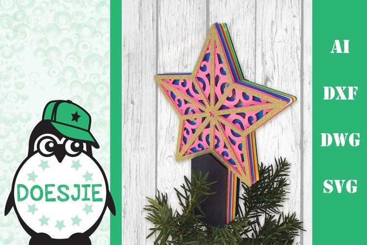 Christmas tree topper SVG star 3d mandala Christmas ornament example image 1