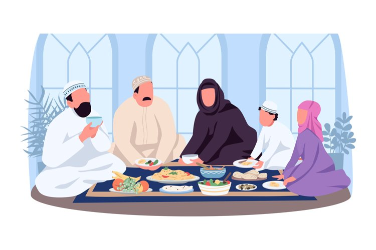 Muslim traditional dinner 2D vector web banner, poster example image 1