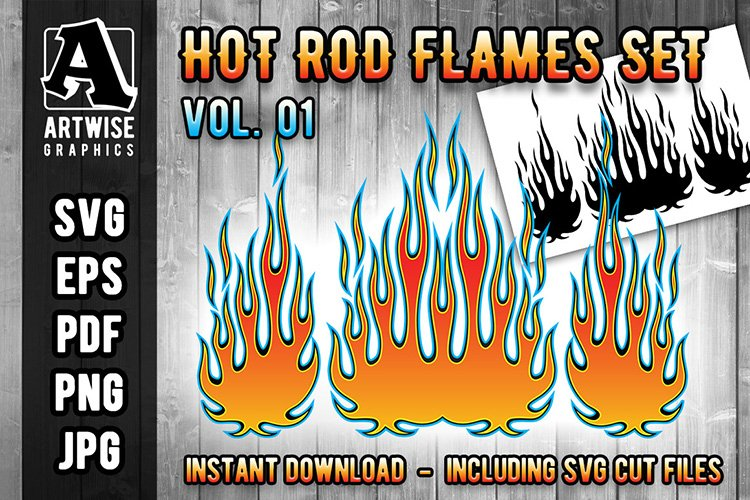 Hot Rod Fire Flame Vector Graphics Set