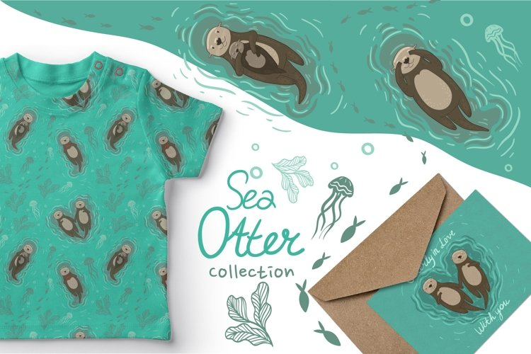 Set of graphics with sea otters