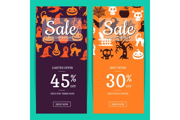Vector halloween sale banner templates with witches, pumpkin example image 1
