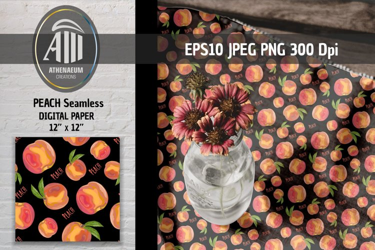Peach fruit on black seamless pattern. example image 1