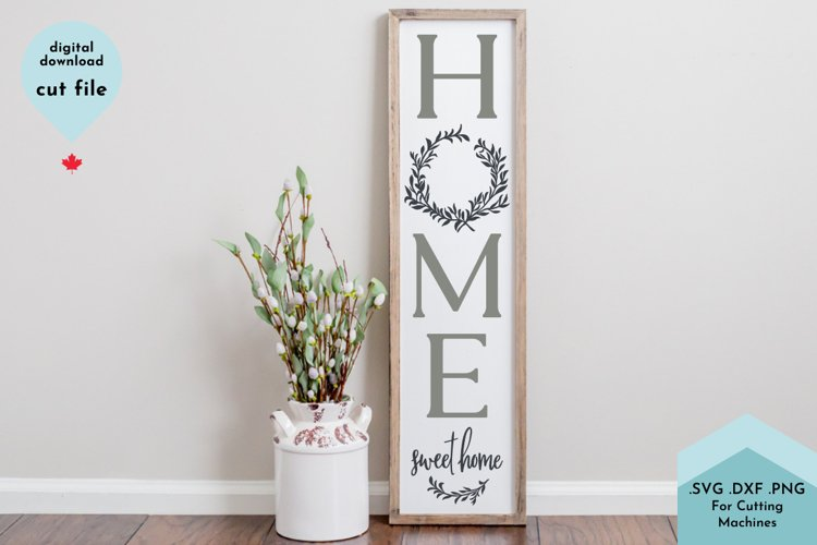 Welcome to our home Spring Wreath Vertical Porch Sign example