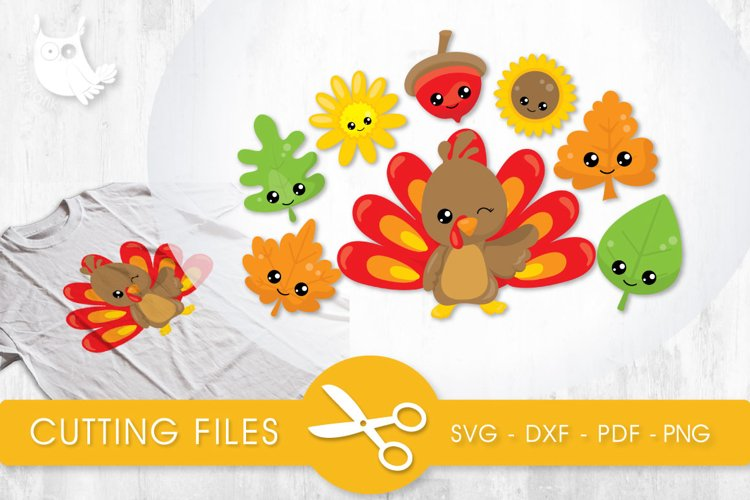 Cutesy Fall Turkey files svg, dxf, pdf, eps included - cut files for cricut and silhouette - Cutting Files SVG example image 1